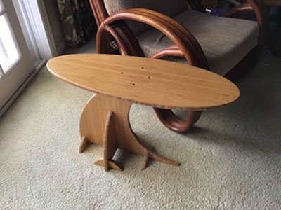 Plyboo Surfboard End Table Top View